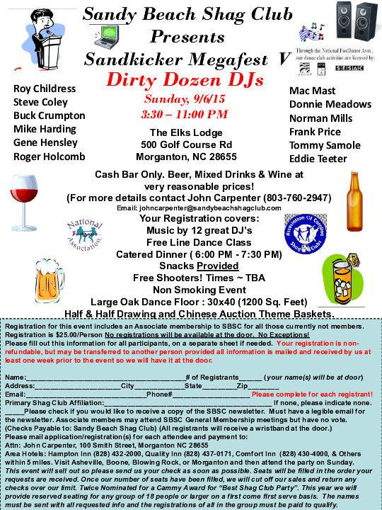 Upcoming party with Sandy Beach Shag Club, Morganton 9-6-15